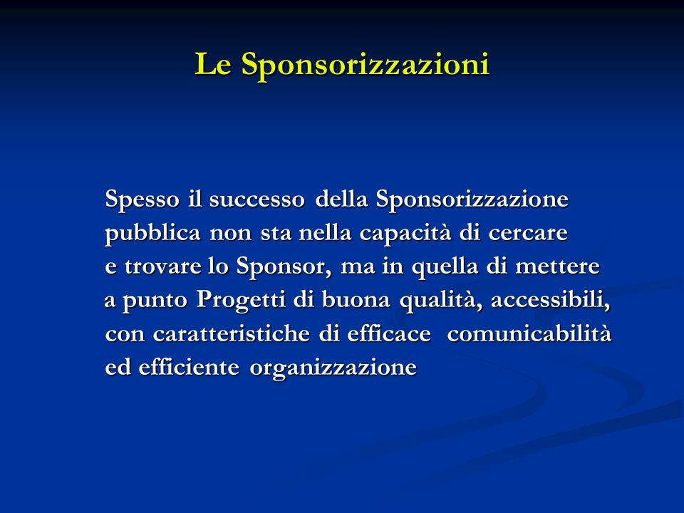 Le Sponsorizzazioni Spesso il successo della Sponsorizzazione pubblica non sta nella capacità di cercare e trovare lo Sponsor, ma in quella di mettere