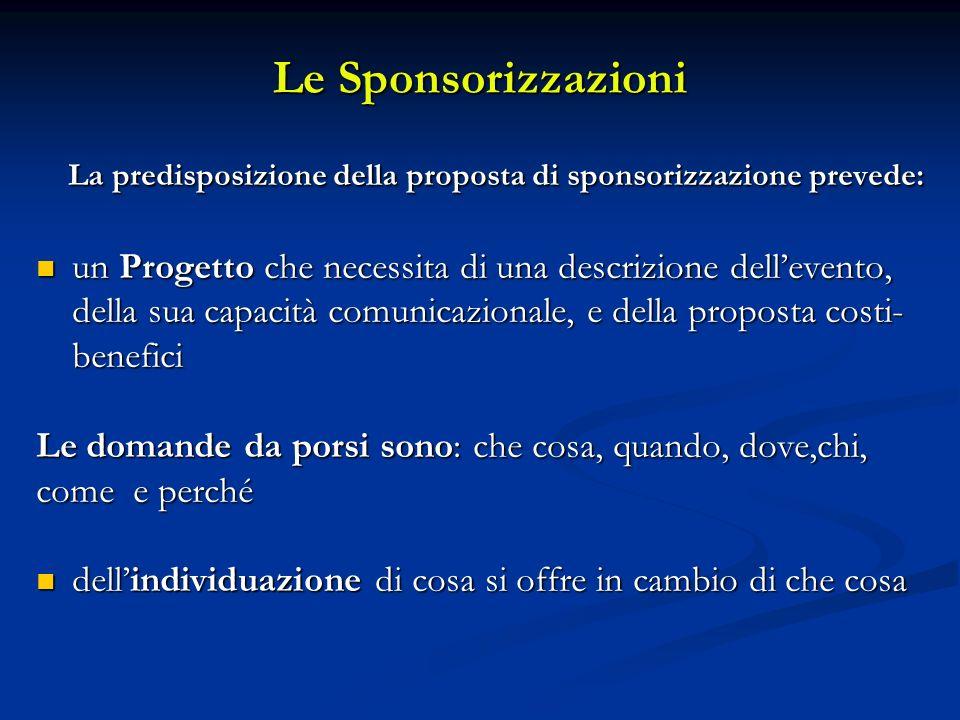 Le Sponsorizzazioni La predisposizione della proposta di sponsorizzazione prevede: La predisposizione della proposta di sponsorizzazione prevede: un P