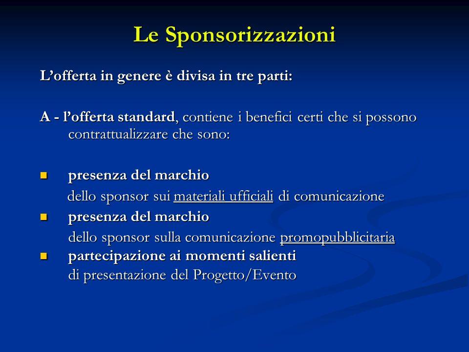 Le Sponsorizzazioni Lofferta in genere è divisa in tre parti: A - lofferta standard, contiene i benefici certi che si possono contrattualizzare che so