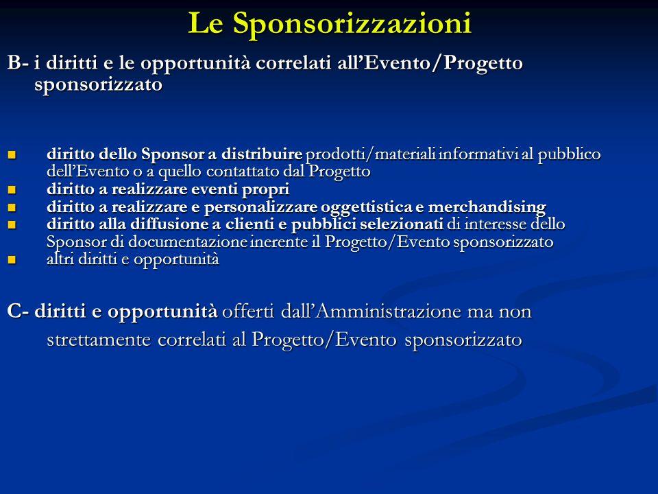 Le Sponsorizzazioni B- i diritti e le opportunità correlati allEvento/Progetto sponsorizzato sponsorizzato diritto dello Sponsor a distribuire prodott