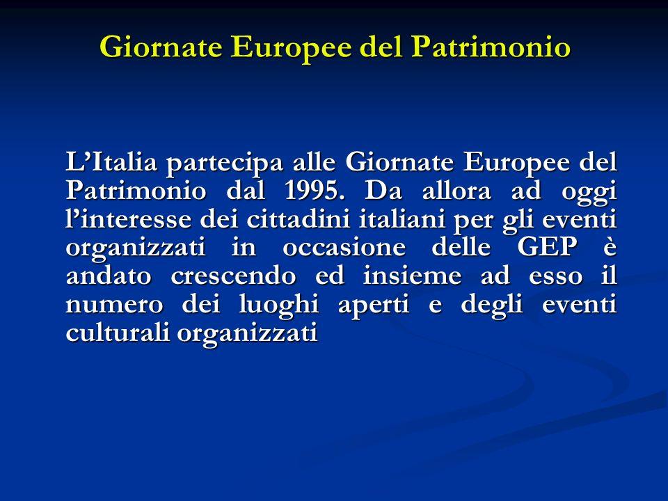 Giornate Europee del Patrimonio LItalia partecipa alle Giornate Europee del Patrimonio dal 1995. Da allora ad oggi linteresse dei cittadini italiani p