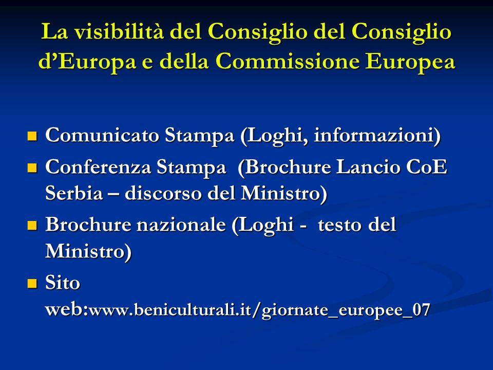 La visibilità del Consiglio del Consiglio dEuropa e della Commissione Europea Comunicato Stampa (Loghi, informazioni) Comunicato Stampa (Loghi, inform