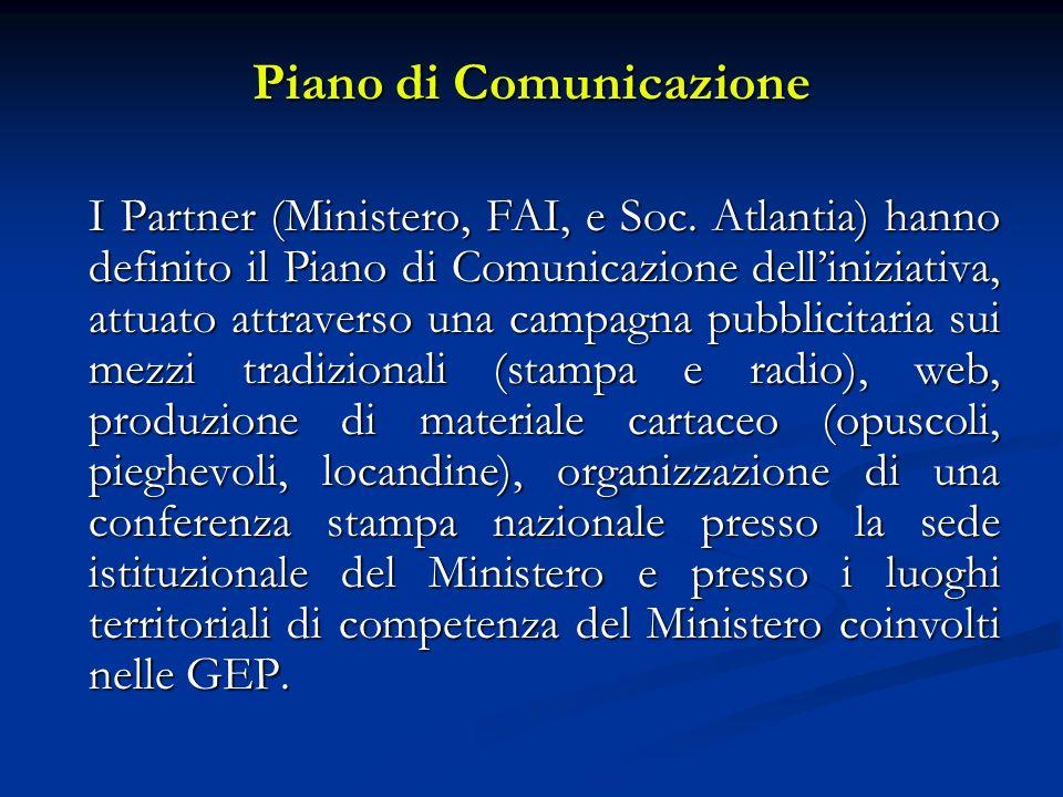 Piano di Comunicazione I Partner (Ministero, FAI, e Soc. Atlantia) hanno definito il Piano di Comunicazione delliniziativa, attuato attraverso una cam