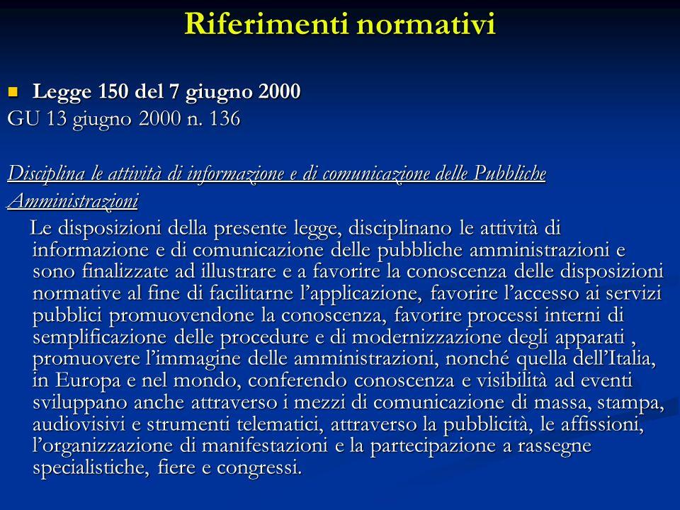 Riferimenti normativi Legge 150 del 7 giugno 2000 Legge 150 del 7 giugno 2000 GU 13 giugno 2000 n.