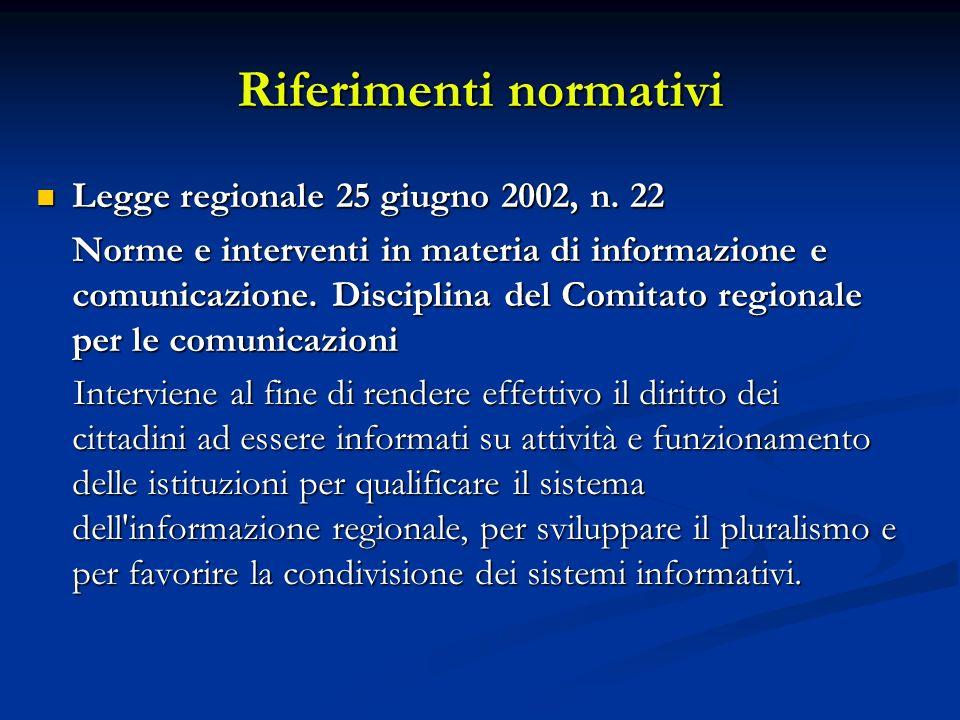 Riferimenti normativi Legge regionale 25 giugno 2002, n. 22 Legge regionale 25 giugno 2002, n. 22 Norme e interventi in materia di informazione e comu