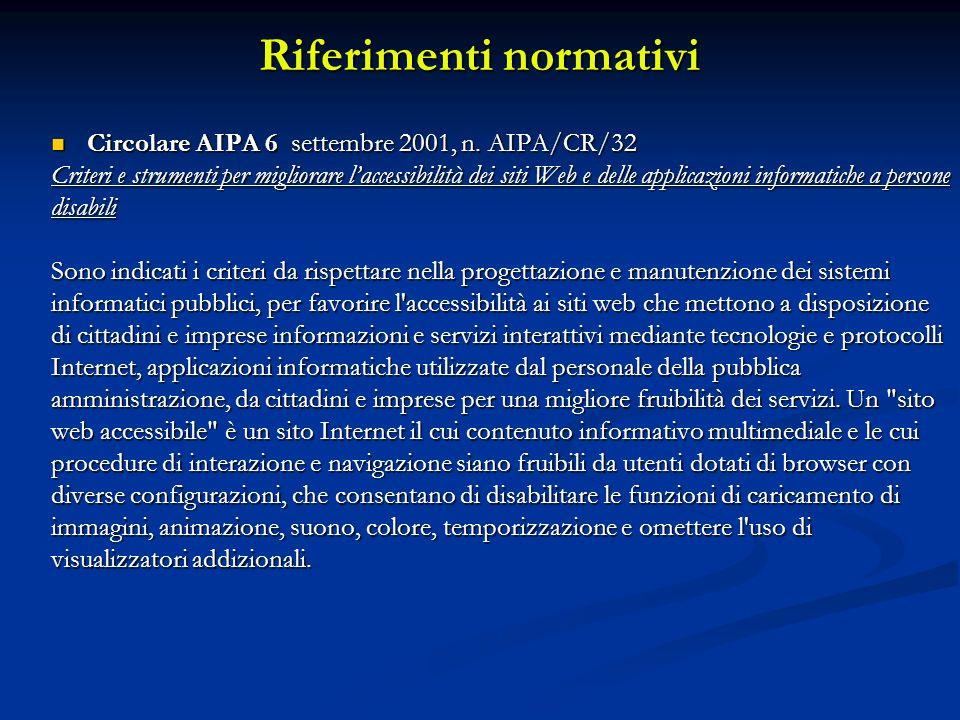 Riferimenti normativi Circolare AIPA 6 settembre 2001, n. AIPA/CR/32 Circolare AIPA 6 settembre 2001, n. AIPA/CR/32 Criteri e strumenti per migliorare