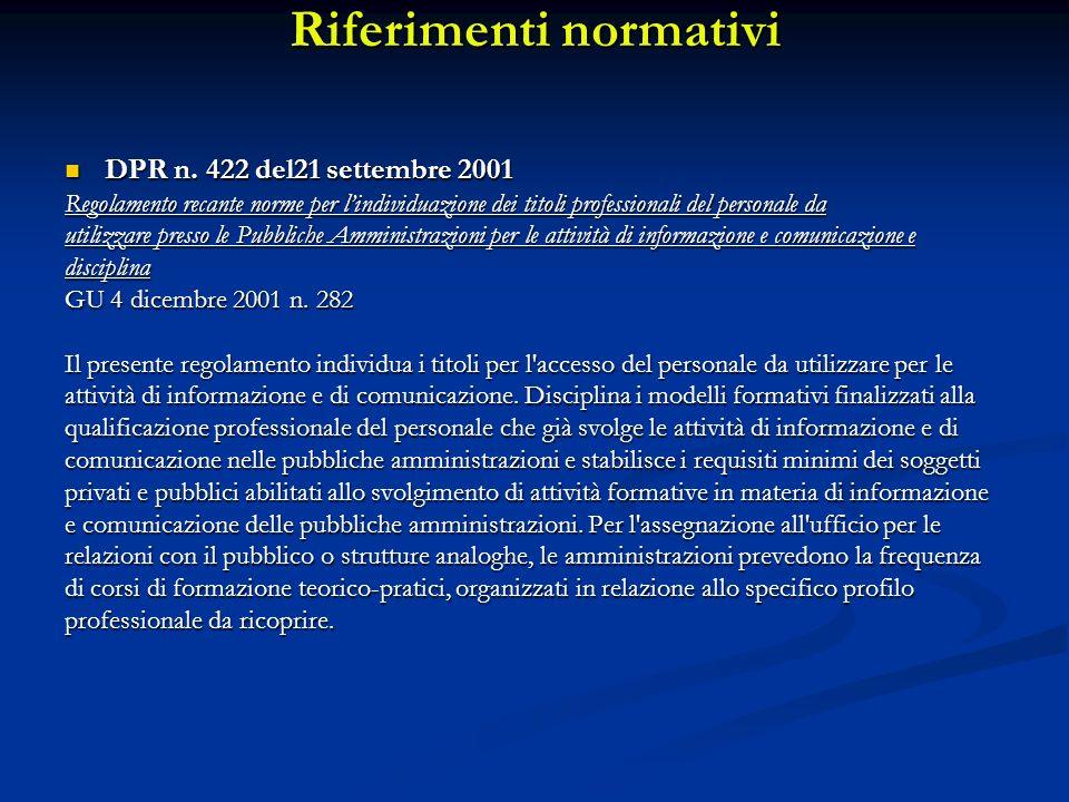 Riferimenti normativi DPR n. 422 del21 settembre 2001 DPR n. 422 del21 settembre 2001 Regolamento recante norme per lindividuazione dei titoli profess