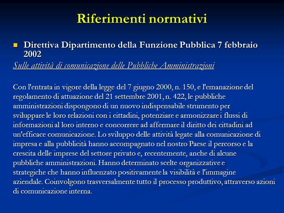 Riferimenti normativi Direttiva Dipartimento della Funzione Pubblica 7 febbraio 2002 Direttiva Dipartimento della Funzione Pubblica 7 febbraio 2002 Sulle attività di comunicazione delle Pubbliche Amministrazioni Con l entrata in vigore della legge del 7 giugno 2000, n.