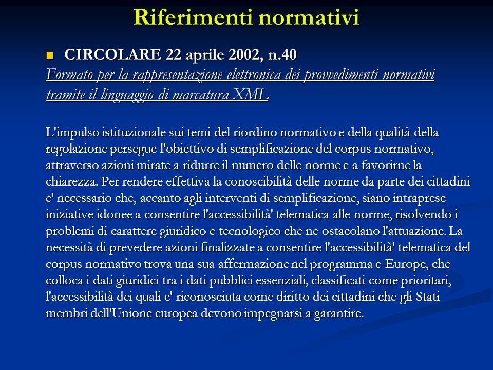 Riferimenti normativi CIRCOLARE 22 aprile 2002, n.40 CIRCOLARE 22 aprile 2002, n.40 Formato per la rappresentazione elettronica dei provvedimenti norm