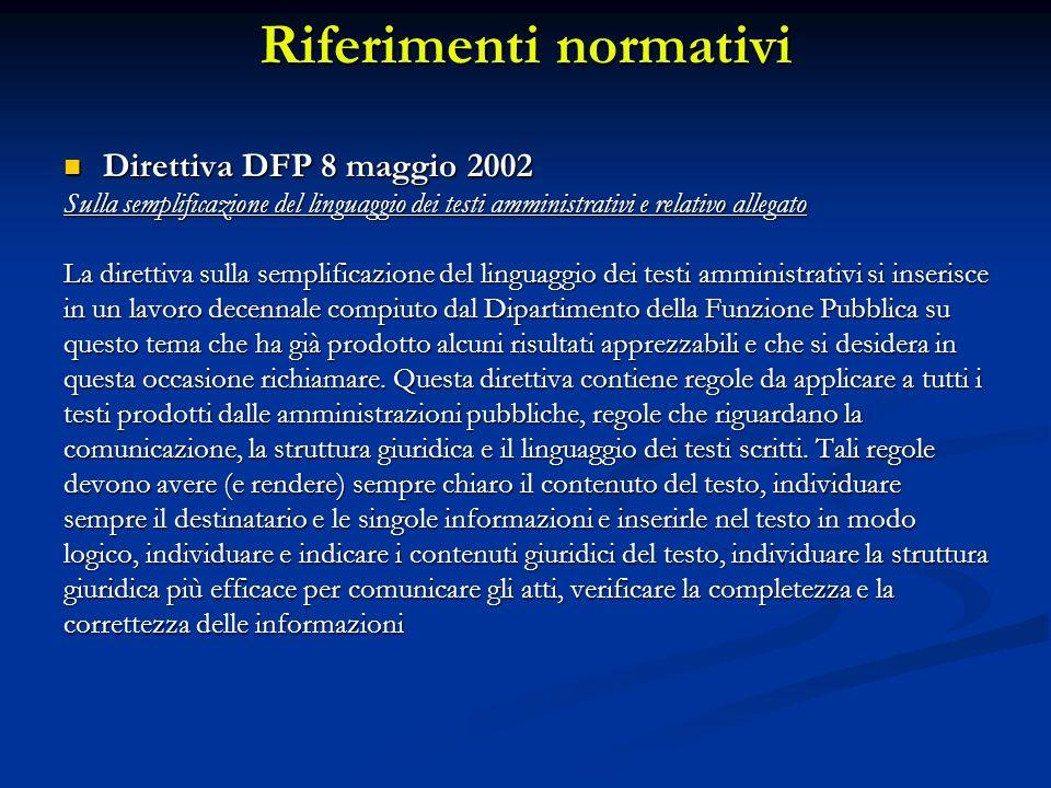 Riferimenti normativi Direttiva DFP 8 maggio 2002 Direttiva DFP 8 maggio 2002 Sulla semplificazione del linguaggio dei testi amministrativi e relativo