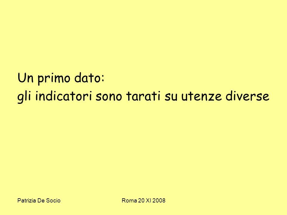 Patrizia De SocioRoma 20 XI 2008 Un primo dato: gli indicatori sono tarati su utenze diverse