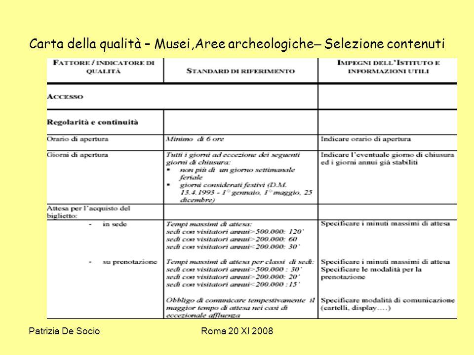 Patrizia De SocioRoma 20 XI 2008 Carta della qualità – Musei,Aree archeologiche – Selezione contenuti
