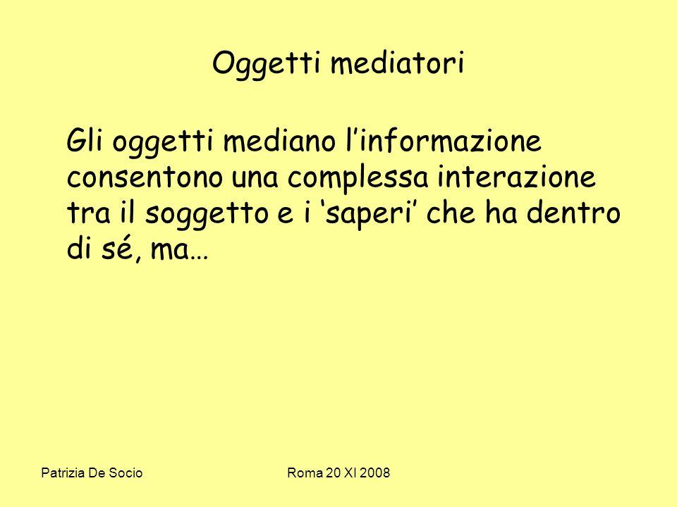 Patrizia De SocioRoma 20 XI 2008 Oggetti mediatori Gli oggetti mediano linformazione consentono una complessa interazione tra il soggetto e i saperi che ha dentro di sé, ma…