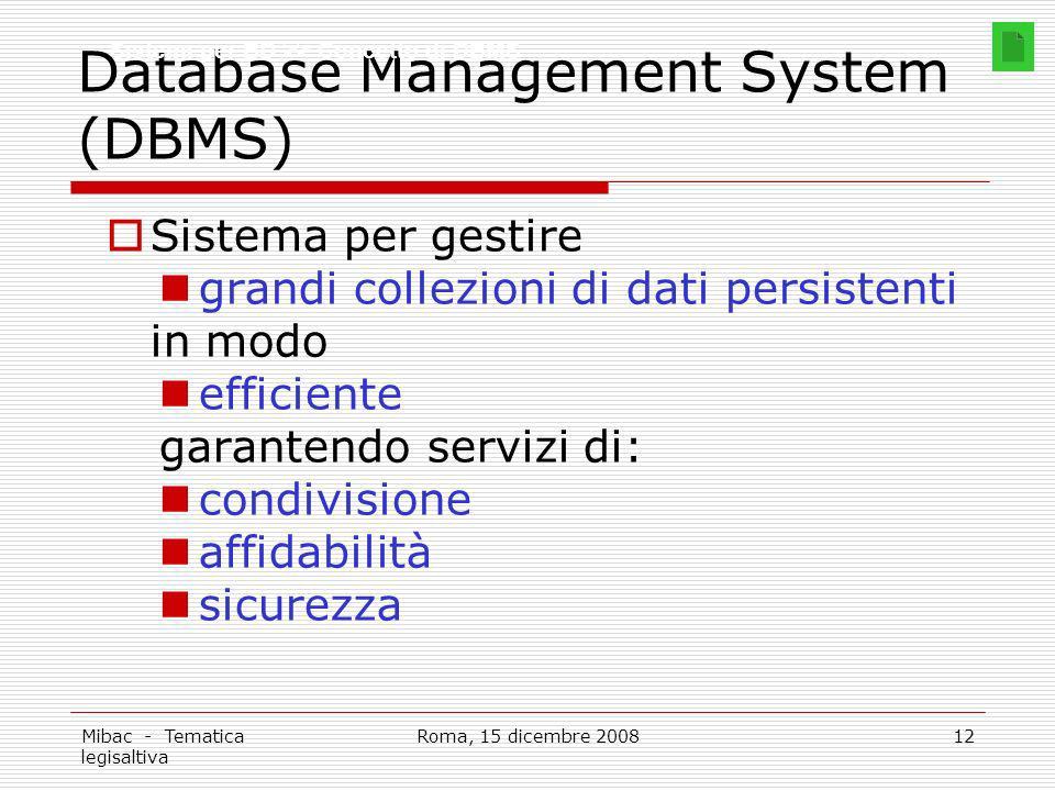 Mibac - Tematica legisaltiva Roma, 15 dicembre 200812 Database Management System (DBMS) Sistema per gestire grandi collezioni di dati persistenti in modo efficiente garantendo servizi di: condivisione affidabilità sicurezza Sistemi per BD >> Concetto di DBMS