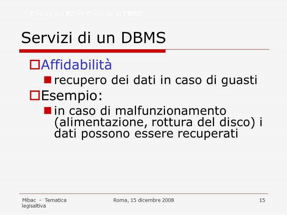 Mibac - Tematica legisaltiva Roma, 15 dicembre 200815 Servizi di un DBMS Affidabilità recupero dei dati in caso di guasti Esempio: in caso di malfunzionamento (alimentazione, rottura del disco) i dati possono essere recuperati Sistemi per BD >> Concetto di DBMS