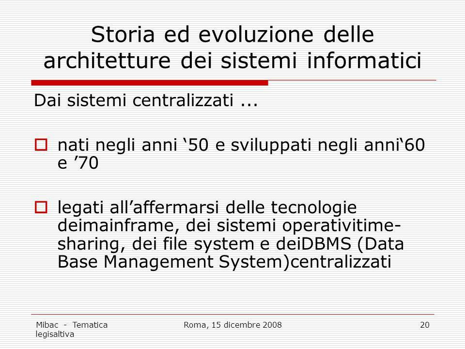 Mibac - Tematica legisaltiva Roma, 15 dicembre 200820 Storia ed evoluzione delle architetture dei sistemi informatici Dai sistemi centralizzati...