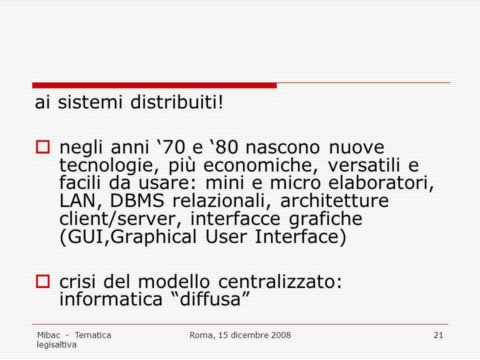 Mibac - Tematica legisaltiva Roma, 15 dicembre 200821 ai sistemi distribuiti! negli anni 70 e 80 nascono nuove tecnologie, più economiche, versatili e