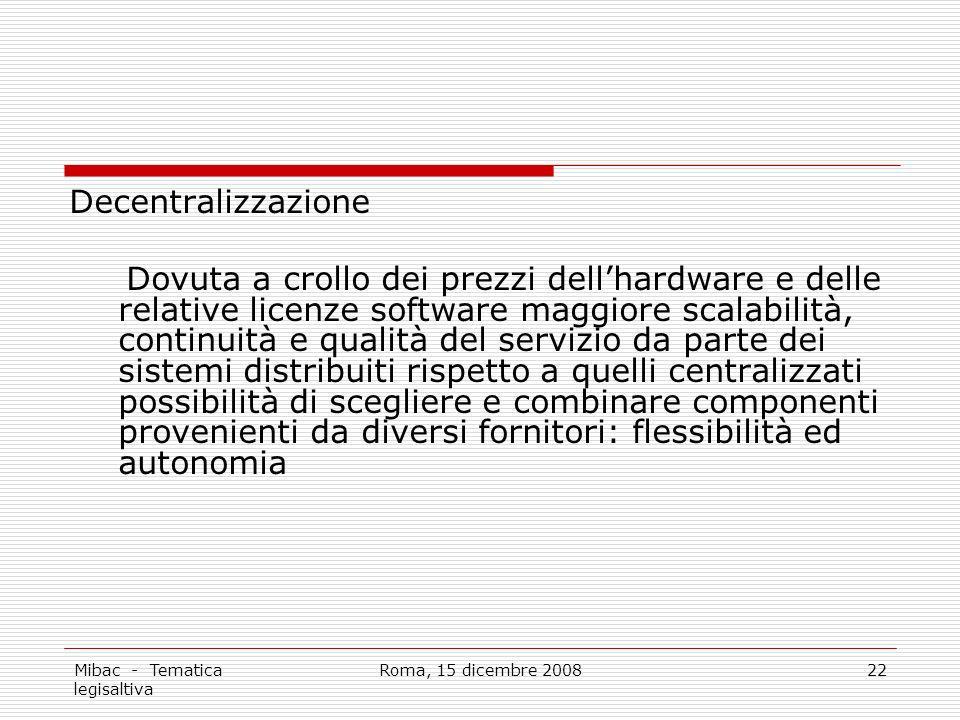 Mibac - Tematica legisaltiva Roma, 15 dicembre 200822 Decentralizzazione Dovuta a crollo dei prezzi dellhardware e delle relative licenze software mag