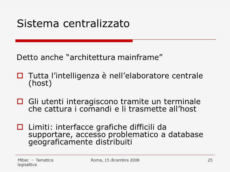 Mibac - Tematica legisaltiva Roma, 15 dicembre 200825 Sistema centralizzato Detto anche architettura mainframe Tutta lintelligenza è nellelaboratore c
