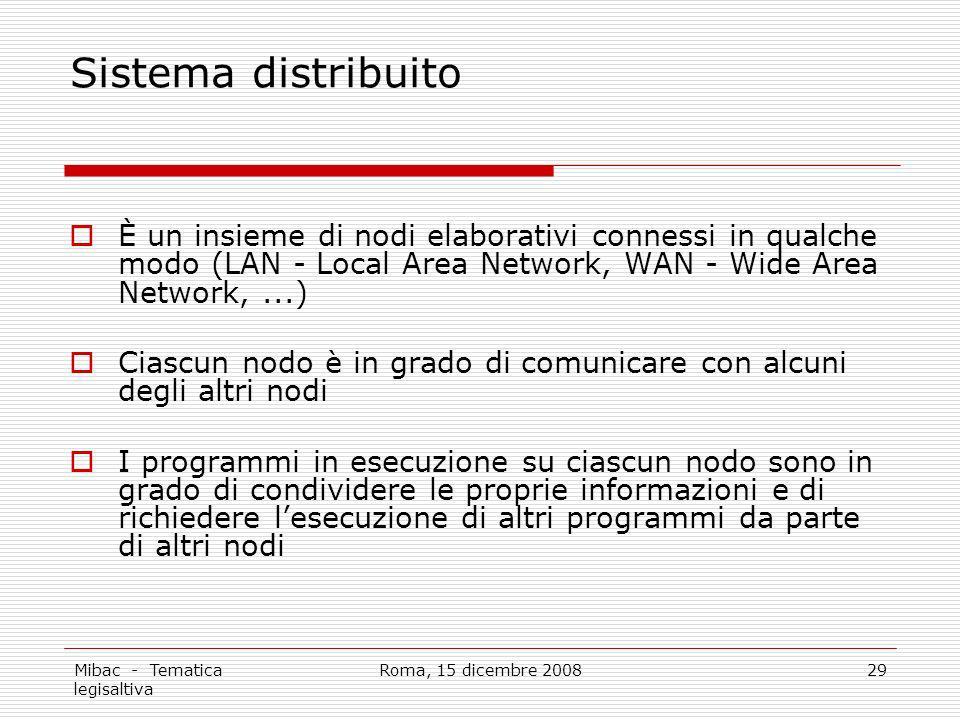 Mibac - Tematica legisaltiva Roma, 15 dicembre 200829 Sistema distribuito È un insieme di nodi elaborativi connessi in qualche modo (LAN - Local Area
