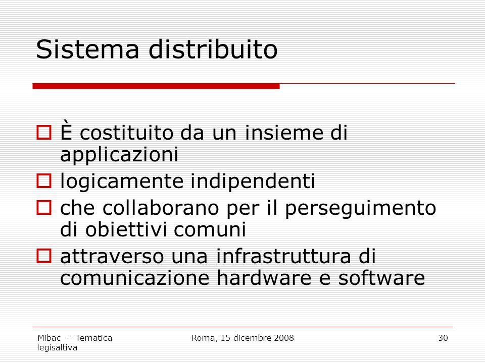 Mibac - Tematica legisaltiva Roma, 15 dicembre 200830 Sistema distribuito È costituito da un insieme di applicazioni logicamente indipendenti che collaborano per il perseguimento di obiettivi comuni attraverso una infrastruttura di comunicazione hardware e software