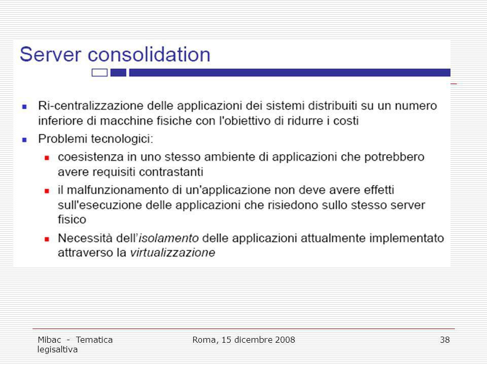 Mibac - Tematica legisaltiva Roma, 15 dicembre 200838