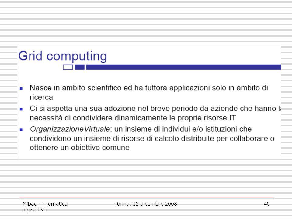 Mibac - Tematica legisaltiva Roma, 15 dicembre 200840