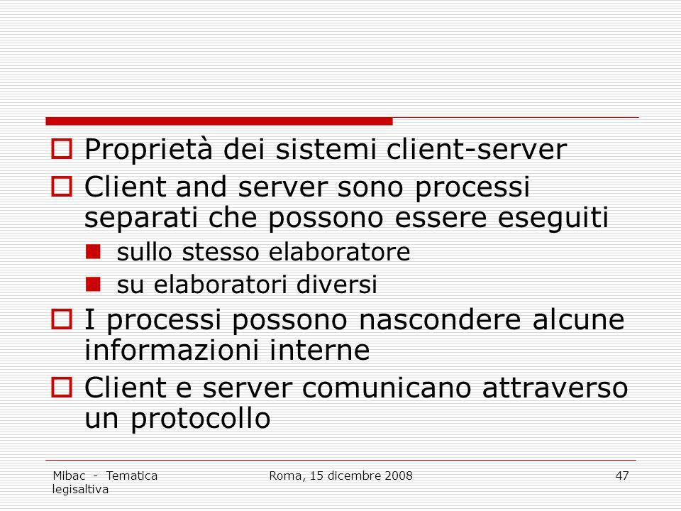 Mibac - Tematica legisaltiva Roma, 15 dicembre 200847 Proprietà dei sistemi client-server Client and server sono processi separati che possono essere eseguiti sullo stesso elaboratore su elaboratori diversi I processi possono nascondere alcune informazioni interne Client e server comunicano attraverso un protocollo