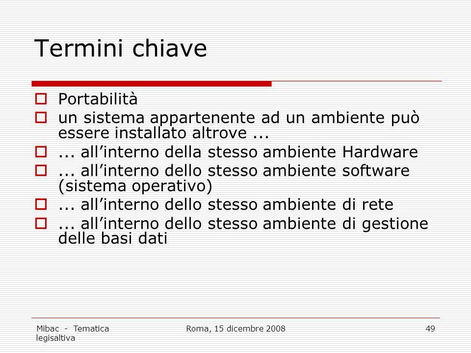 Mibac - Tematica legisaltiva Roma, 15 dicembre 200849 Termini chiave Portabilità un sistema appartenente ad un ambiente può essere installato altrove......