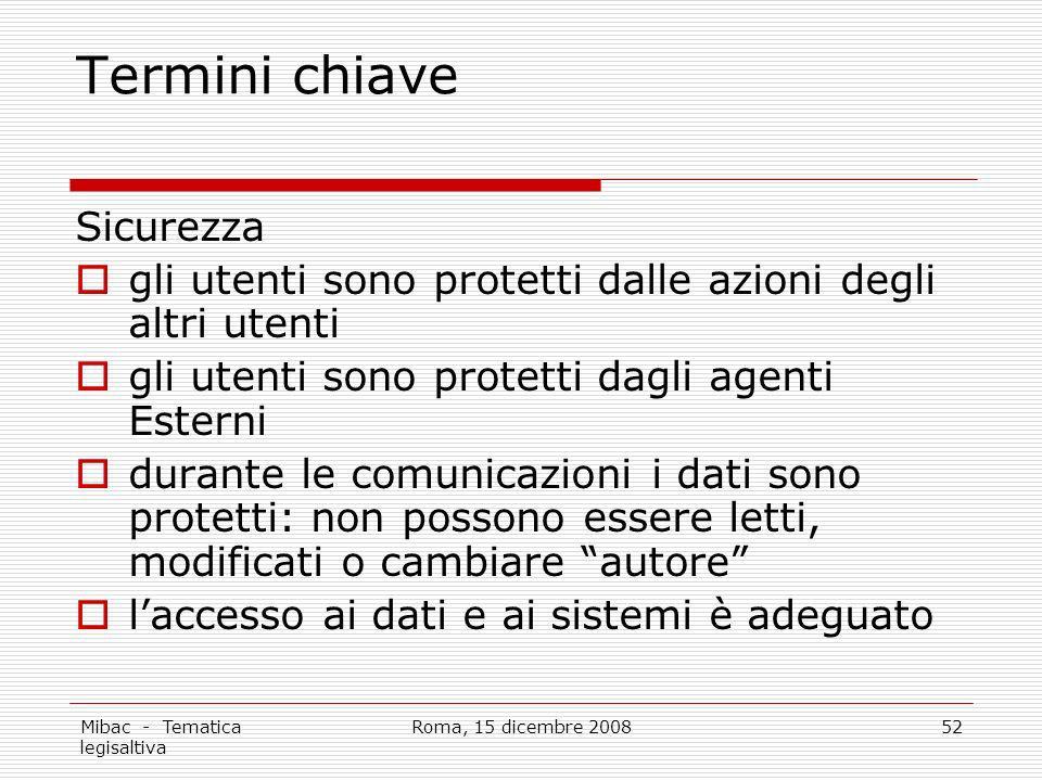 Mibac - Tematica legisaltiva Roma, 15 dicembre 200852 Termini chiave Sicurezza gli utenti sono protetti dalle azioni degli altri utenti gli utenti son