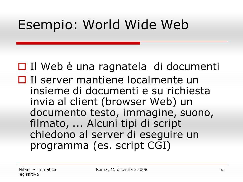 Mibac - Tematica legisaltiva Roma, 15 dicembre 200853 Esempio: World Wide Web Il Web è una ragnatela di documenti Il server mantiene localmente un insieme di documenti e su richiesta invia al client (browser Web) un documento testo, immagine, suono, filmato,...