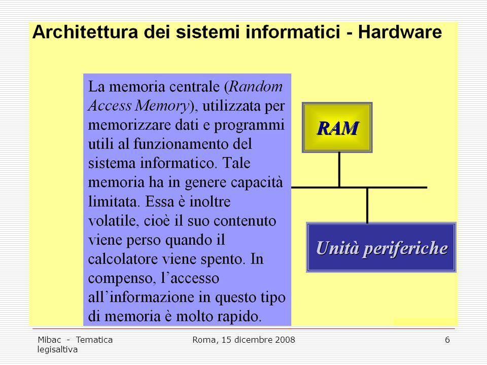 Mibac - Tematica legisaltiva Roma, 15 dicembre 20086