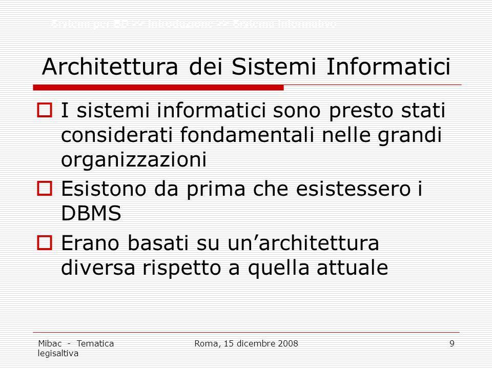 Mibac - Tematica legisaltiva Roma, 15 dicembre 20089 Architettura dei Sistemi Informatici I sistemi informatici sono presto stati considerati fondamen