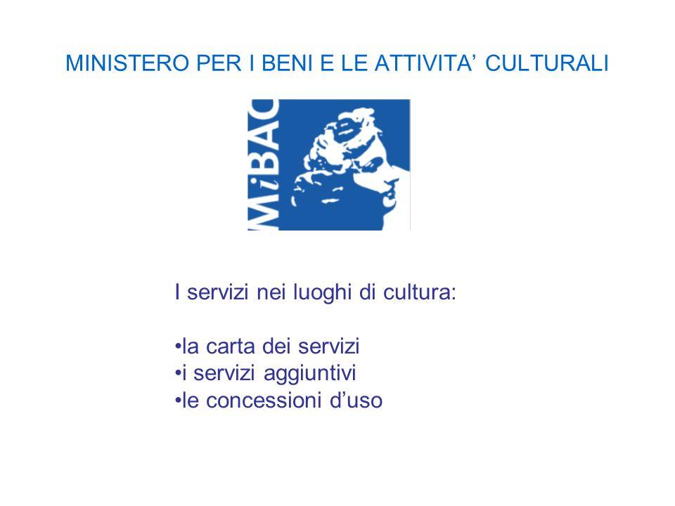 MINISTERO PER I BENI E LE ATTIVITA CULTURALI I servizi nei luoghi di cultura: la carta dei servizi i servizi aggiuntivi le concessioni duso