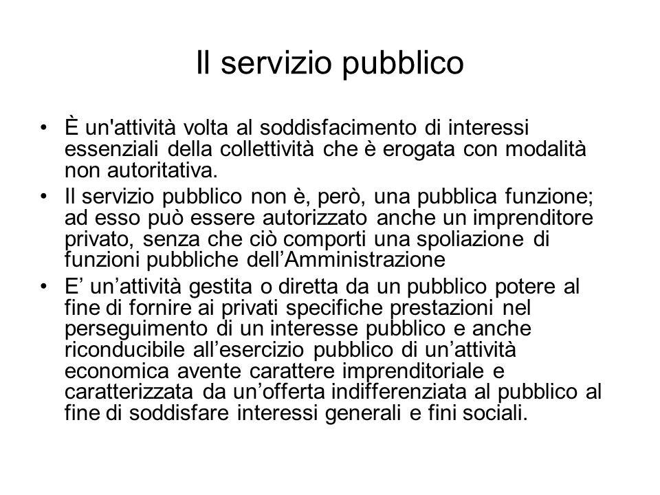 Il servizio pubblico È un'attività volta al soddisfacimento di interessi essenziali della collettività che è erogata con modalità non autoritativa. Il