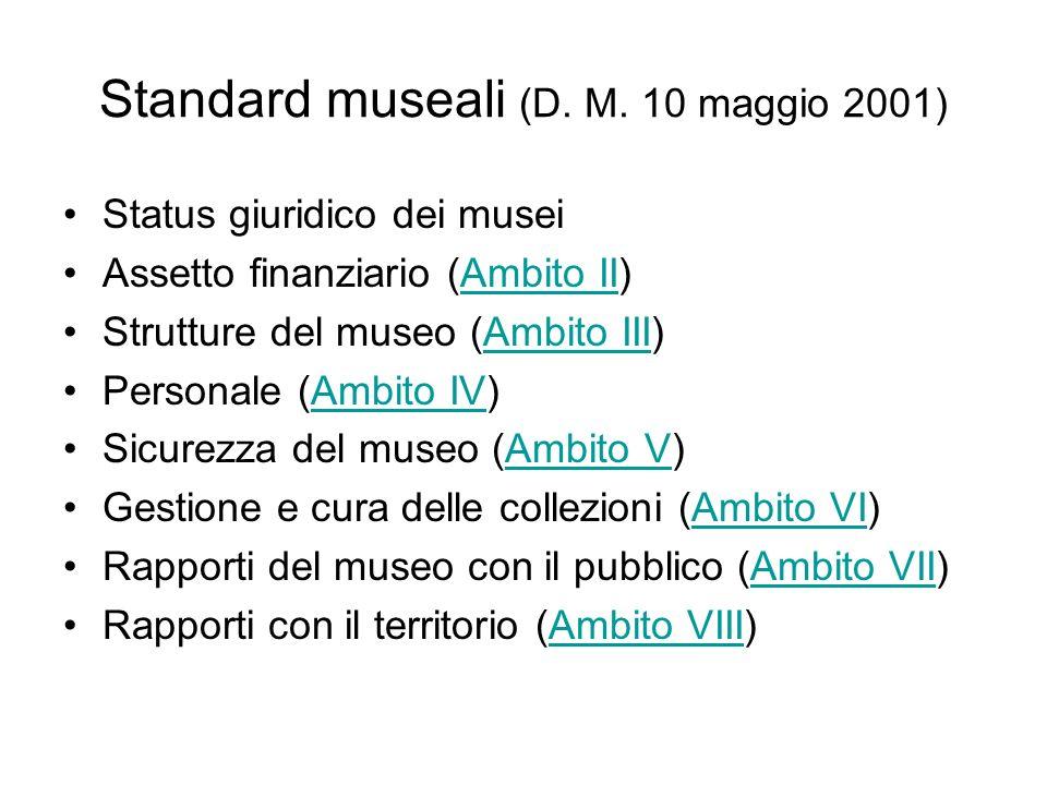 Standard museali (D. M. 10 maggio 2001) Status giuridico dei musei Assetto finanziario (Ambito II)Ambito II Strutture del museo (Ambito III)Ambito III
