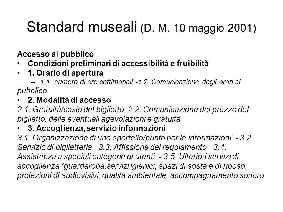Standard museali (D. M. 10 maggio 2001) Accesso al pubblico Condizioni preliminari di accessibilità e fruibilità 1. Orario di apertura –1.1. numero di