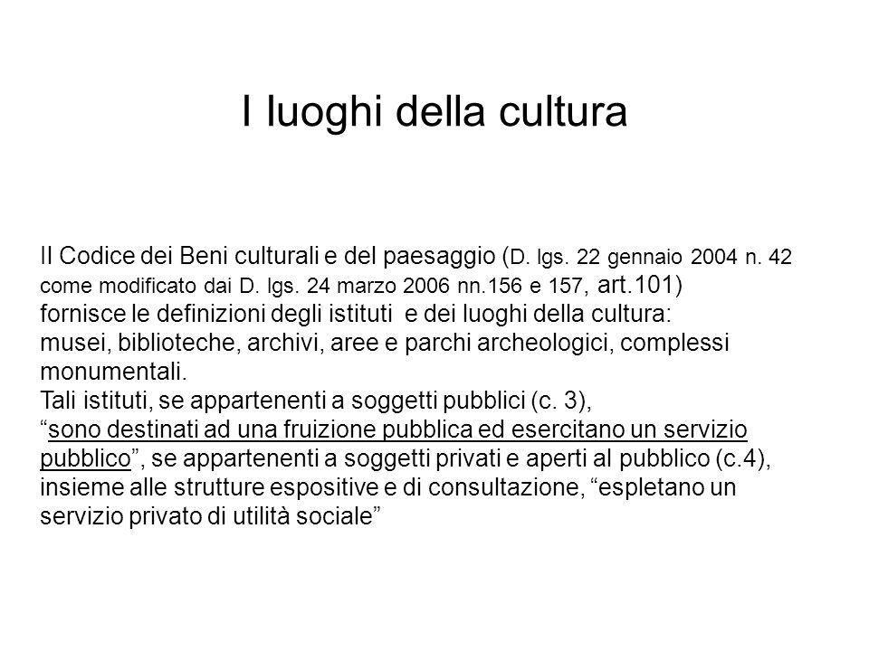 Il Codice dei Beni culturali e del paesaggio ( D. lgs. 22 gennaio 2004 n. 42 come modificato dai D. lgs. 24 marzo 2006 nn.156 e 157, art.101) fornisce