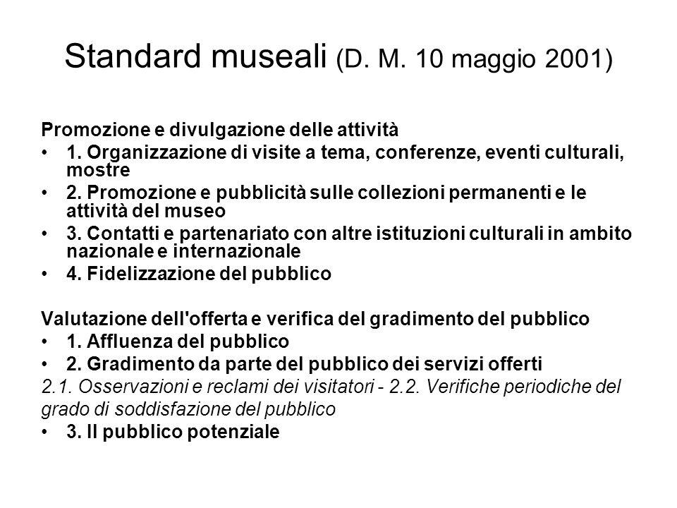Standard museali (D. M. 10 maggio 2001) Promozione e divulgazione delle attività 1. Organizzazione di visite a tema, conferenze, eventi culturali, mos