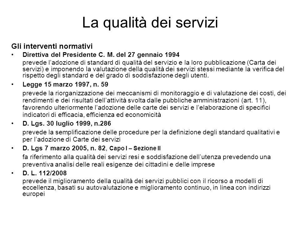 La qualità dei servizi Gli interventi normativi Direttiva del Presidente C. M. del 27 gennaio 1994 prevede ladozione di standard di qualità del serviz