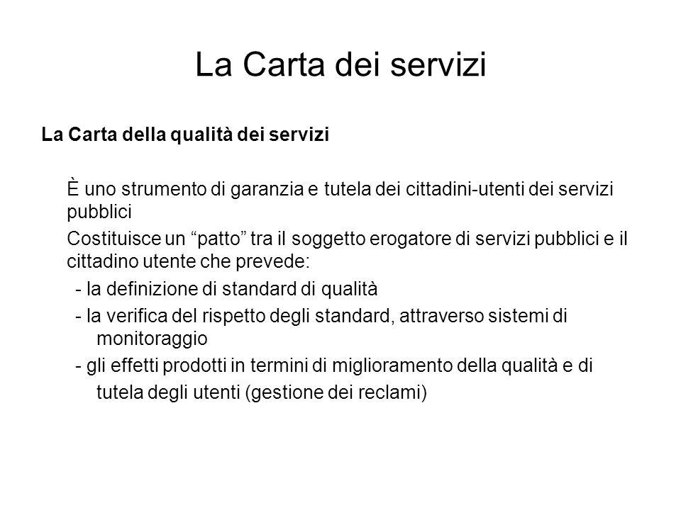 La Carta dei servizi La Carta della qualità dei servizi È uno strumento di garanzia e tutela dei cittadini-utenti dei servizi pubblici Costituisce un