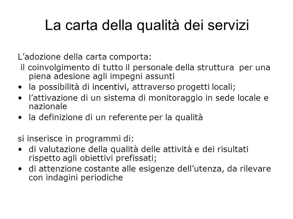 La carta della qualità dei servizi Ladozione della carta comporta: il coinvolgimento di tutto il personale della struttura per una piena adesione agli