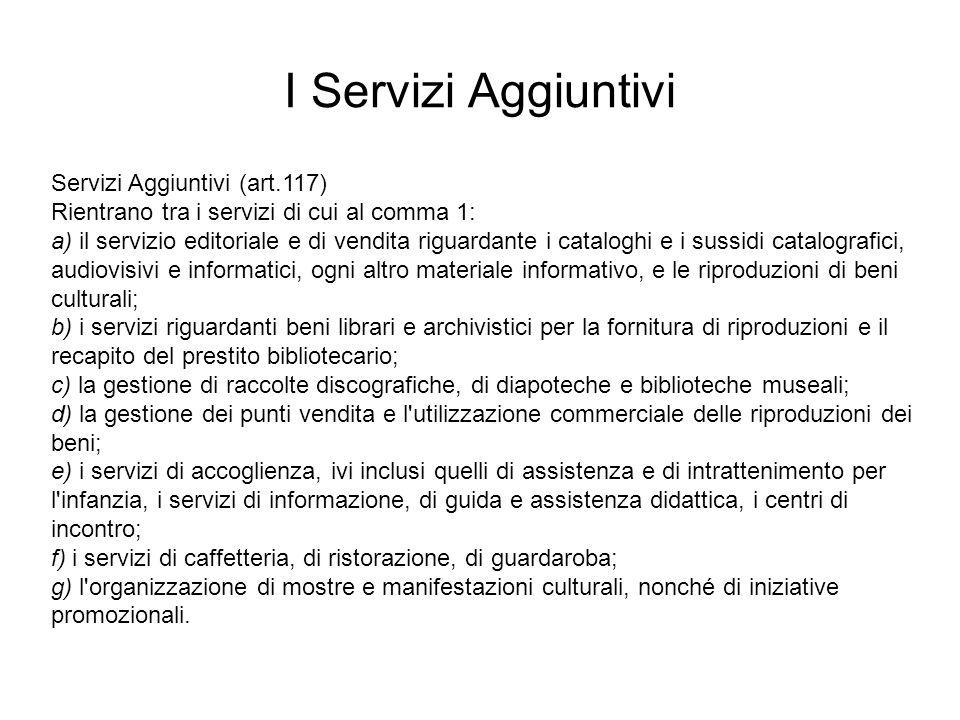 Servizi Aggiuntivi (art.117) Rientrano tra i servizi di cui al comma 1: a) il servizio editoriale e di vendita riguardante i cataloghi e i sussidi cat