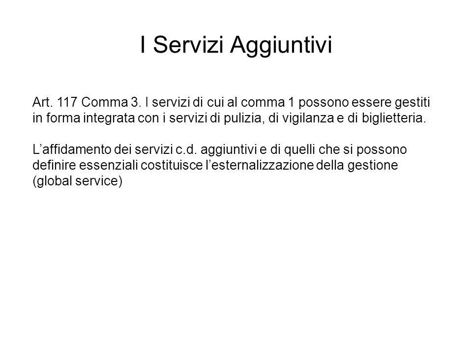 Art. 117 Comma 3. I servizi di cui al comma 1 possono essere gestiti in forma integrata con i servizi di pulizia, di vigilanza e di biglietteria. Laff