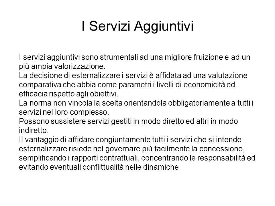 I servizi aggiuntivi sono strumentali ad una migliore fruizione e ad un più ampia valorizzazione. La decisione di esternalizzare i servizi è affidata