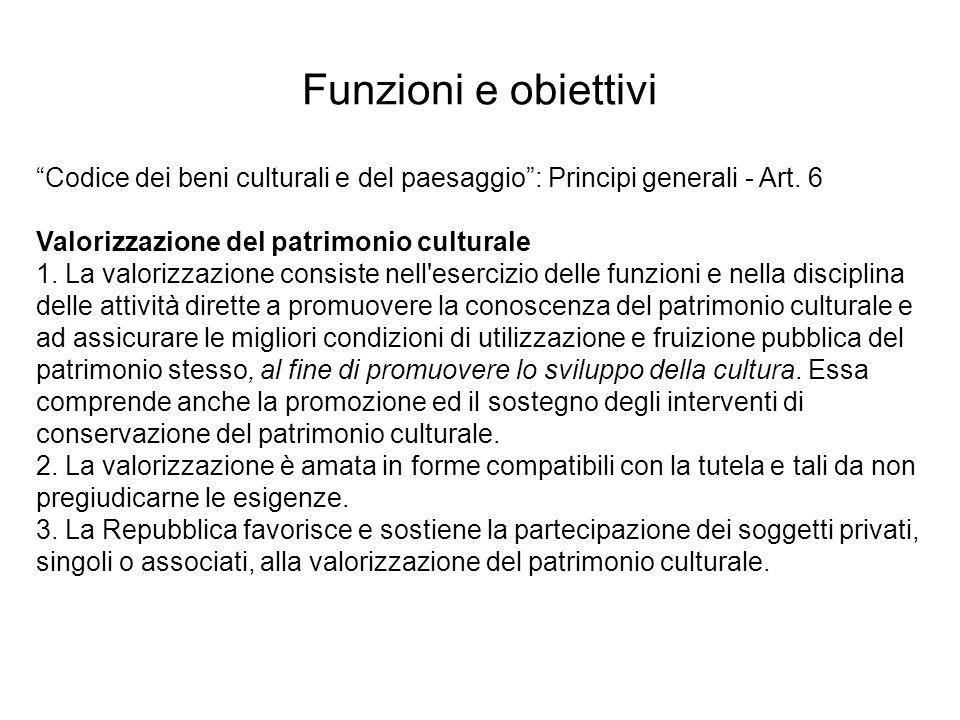 Codice dei beni culturali e del paesaggio: Principi generali - Art. 6 Valorizzazione del patrimonio culturale 1. La valorizzazione consiste nell'eserc