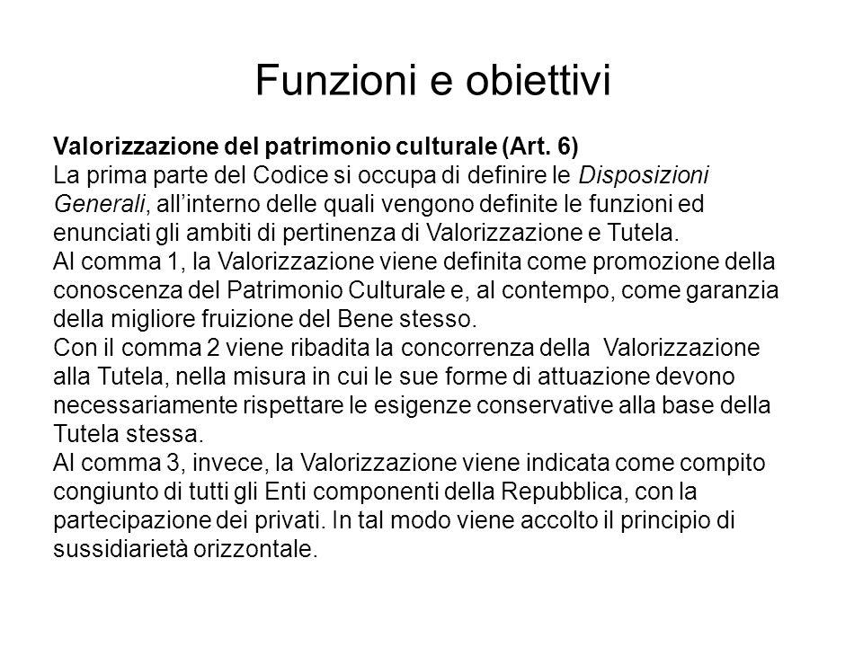 Valorizzazione del patrimonio culturale (Art. 6) La prima parte del Codice si occupa di definire le Disposizioni Generali, allinterno delle quali veng