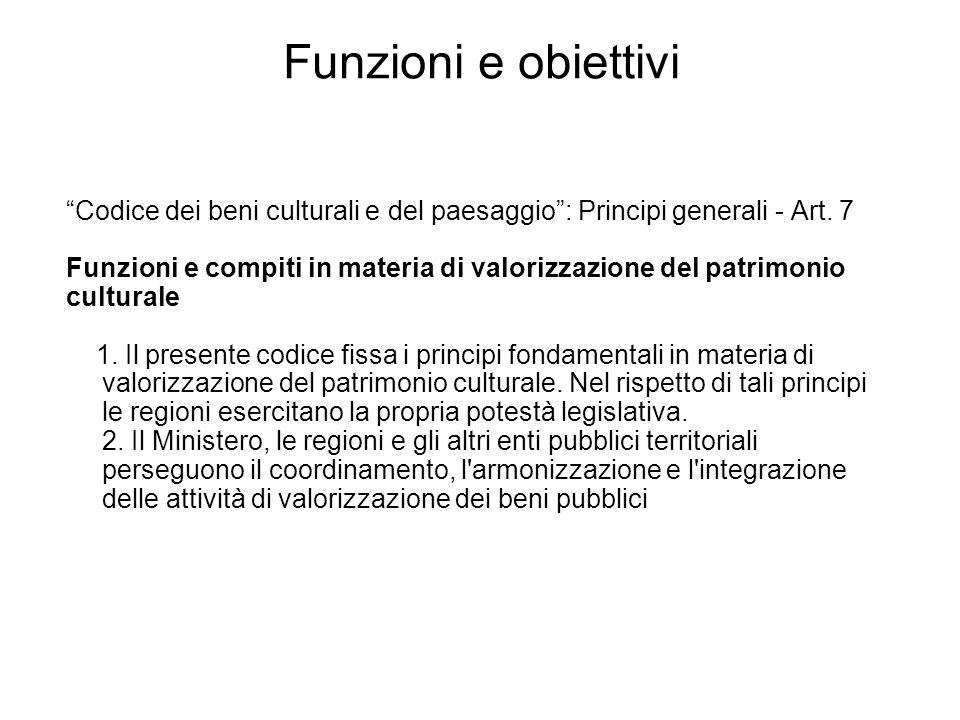 Codice dei beni culturali e del paesaggio: Principi generali - Art. 7 Funzioni e compiti in materia di valorizzazione del patrimonio culturale 1. Il p
