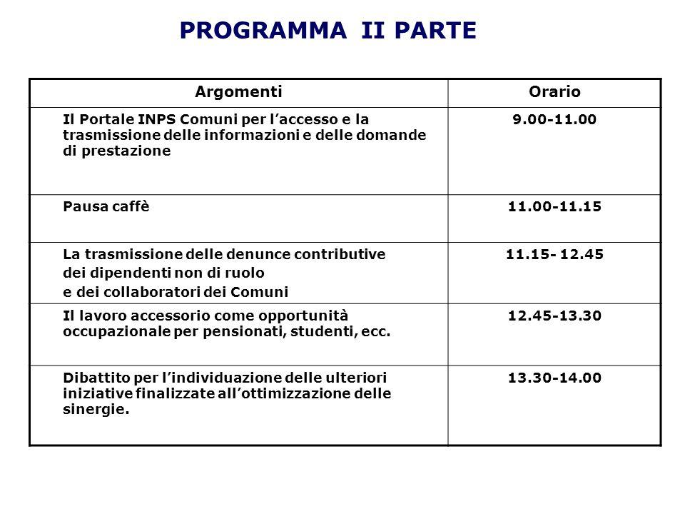 PROGRAMMA II PARTE ArgomentiOrario Il Portale INPS Comuni per laccesso e la trasmissione delle informazioni e delle domande di prestazione 9.00-11.00