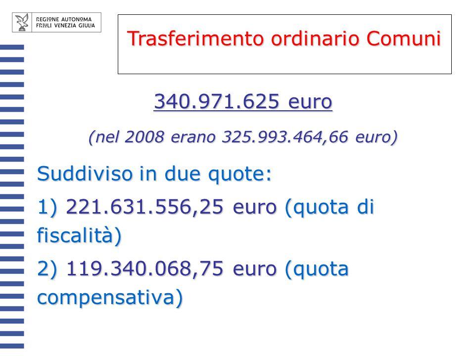 Per i Comuni ai quali nel riparto delle due quote spetta complessivamente unassegnazione inferiore al 96% del trasferimento ordinario 2005, lassegnazione è incrementata della quota necessaria per raggiungere il 96% del trasf.